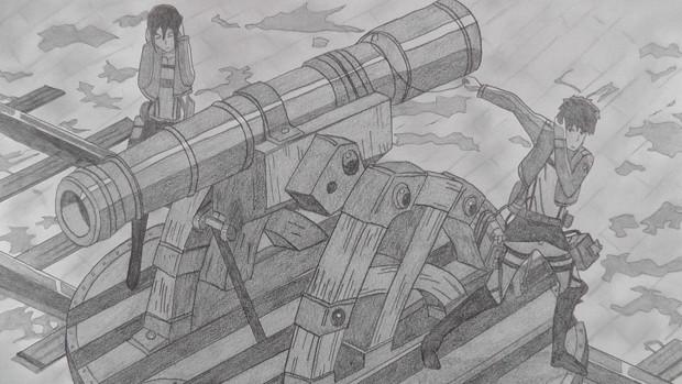 【シャーペンGIF】進撃の巨人OP・大砲後半②