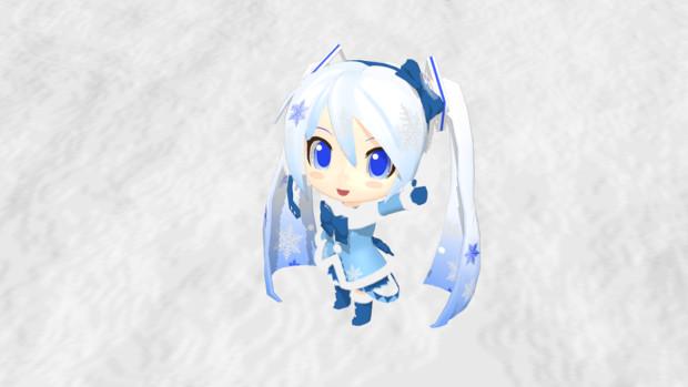 【MMDモデル】ねんど雪ミクさん(ふわふわコート)
