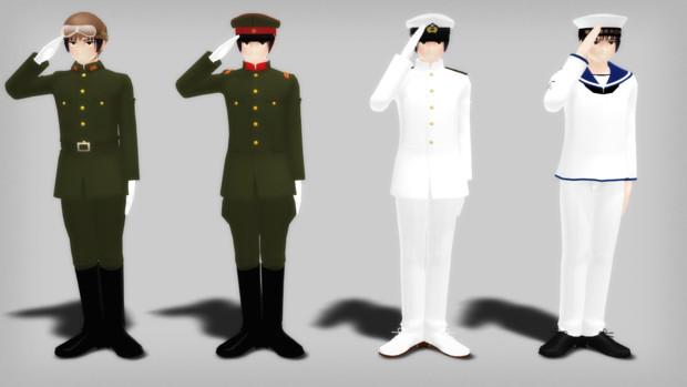 【MMD】挙手注目の礼【帝國陸海軍の場合】