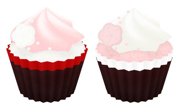 紅白のカップケーキ