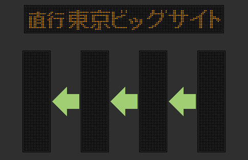 ㎞フラワーバス 直行 東京ビッグサイト行 LED表示