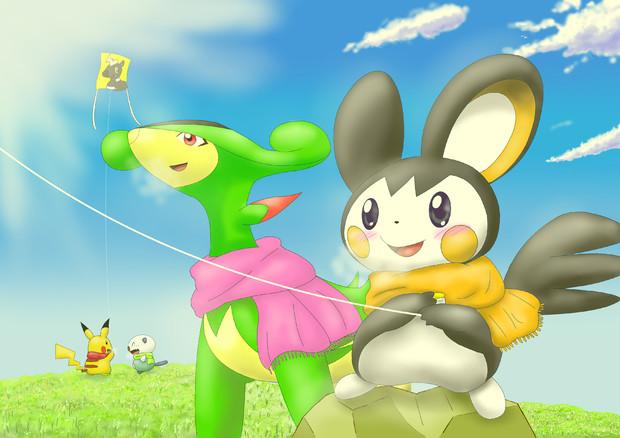 キミと一緒に凧揚げを楽しんで