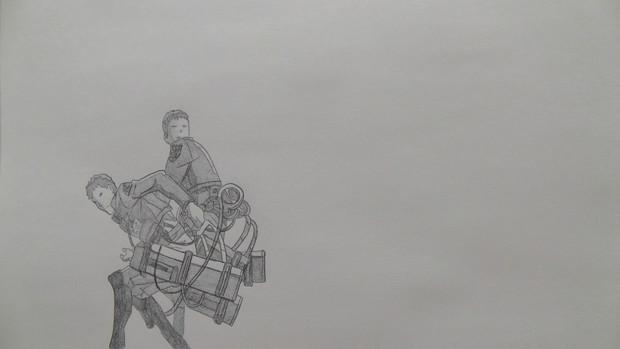 【シャーペンGIF】進撃の巨人OP・ジャン回転