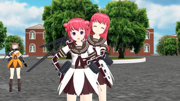 那珂衣装の赤座姉妹