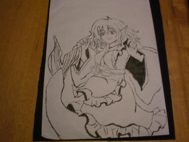 わかさぎ姫を筆で描いてみた