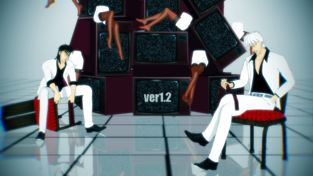 【福本MMD】 黒服カイジと白服アカギ ver1.4にアップデート 【モデル配布】