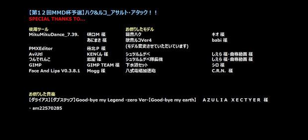 第12回MMD杯予選「ハク&ルコ_アサルト・アタック!!」スペシャルサンクス
