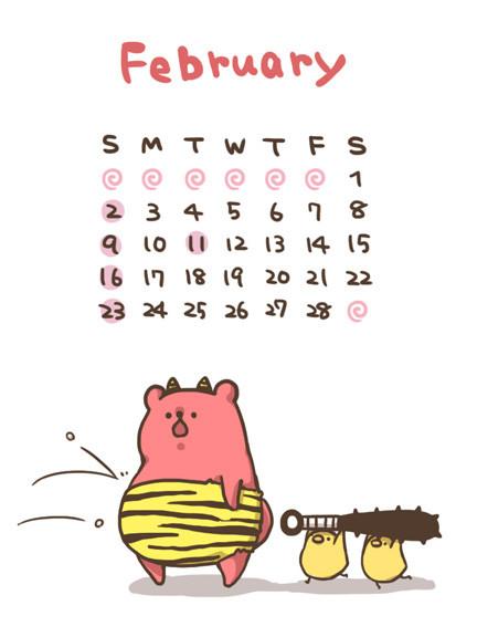 2 月 カレンダー イラスト