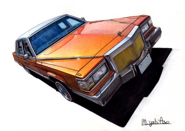 色鉛筆画「Cadillac Fleetwood Brougham」