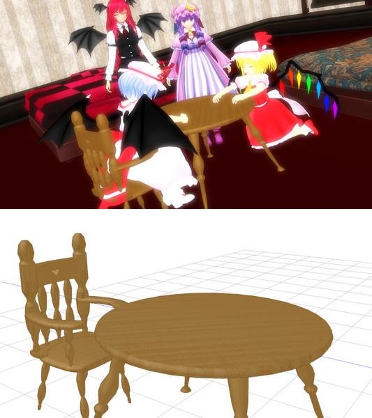 机と椅子【MMDアクセサリ配布】