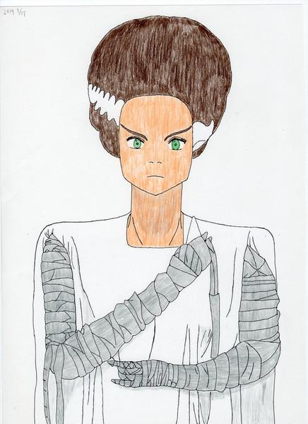 「フランケンシュタインの花嫁」の人造花嫁を描いてみた