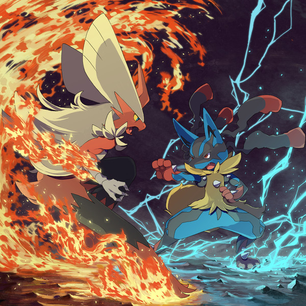 Mega Lucario Vs Blaziken Wallpaper Download