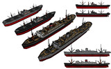 MMD用モブ貨客船・モブ輸送船セット