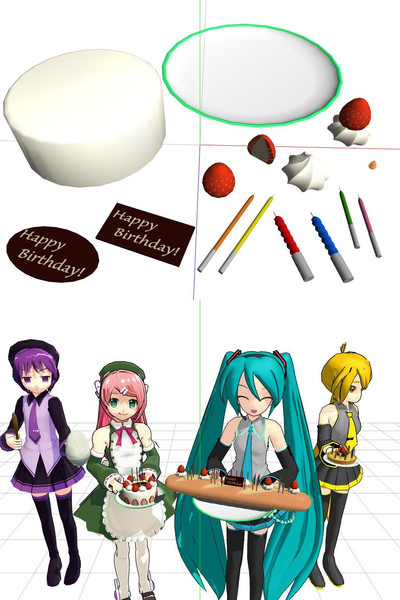 【配布】アクセサリ「即席誕生日ケーキセット」【MMD】