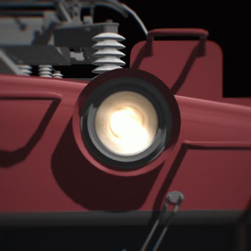見る角度によって光り具合が変わる前照灯。