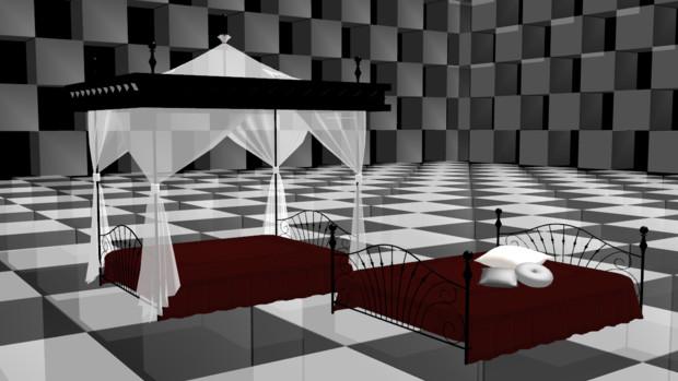 天蓋付きベッド+α【MMDモデル配布】