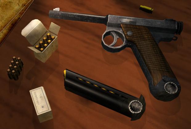 【OMF4】南部十四年式拳銃+弾箱【配布】