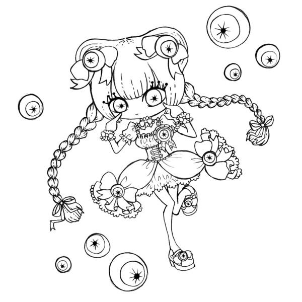 眼魔法少女(線画)