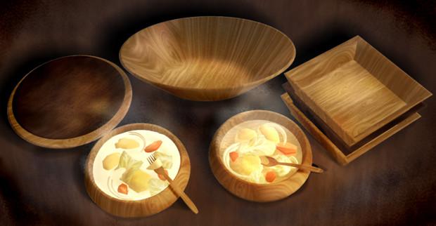 【配布】木製食器 スープ付き