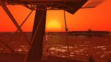 【MMD艦これ】沈む夕日を眺めるミクさんと何かを見つめるクマ吉君