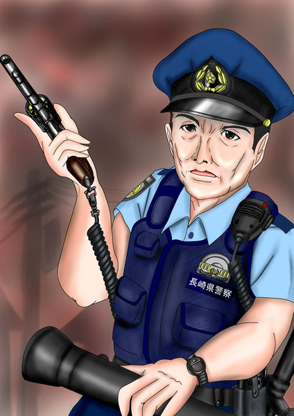 夜見島を警邏中の藤田巡査部長さん