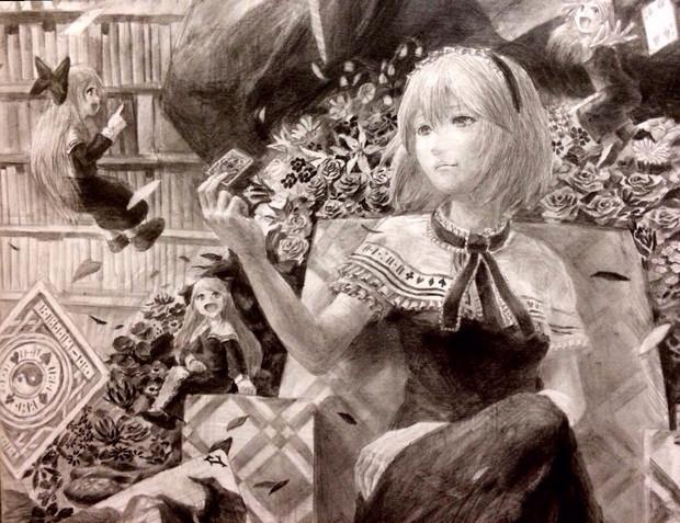 Like a doll,Like girls【 東方繪画展6  monochrome】
