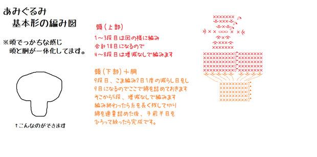 【手芸】あみぐるみ基本形編み図
