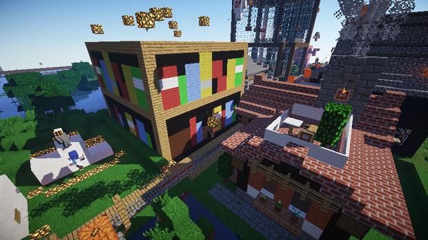 マイクラサーバー16x建築コンテスト 作品 図書館とレンガ建築