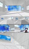 【MMDステージ】ストライプ壁ステージ