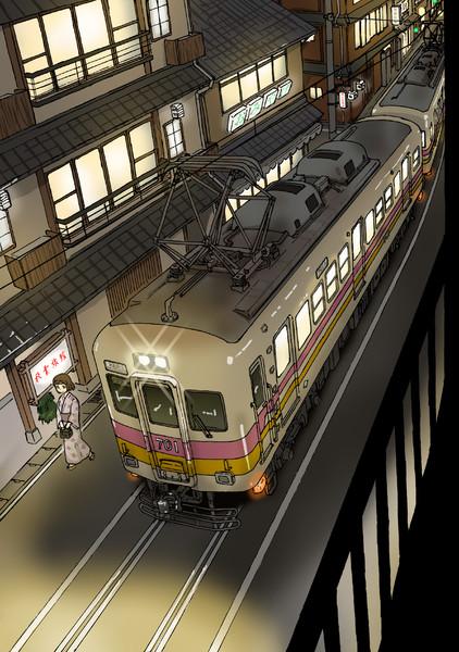 温泉街の路面電車