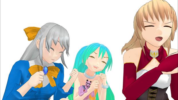 【MMD】三人娘+1でらっきょうバリバリしてみた【エアボでFullEVERYBODY】