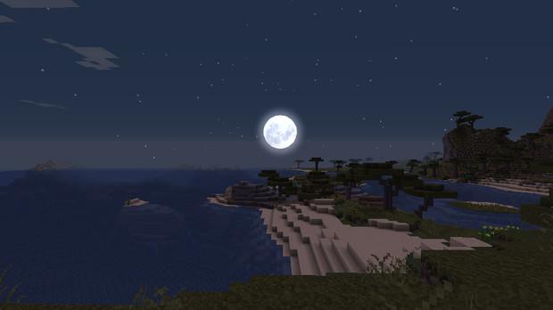 美しい月夜のマインクラフト