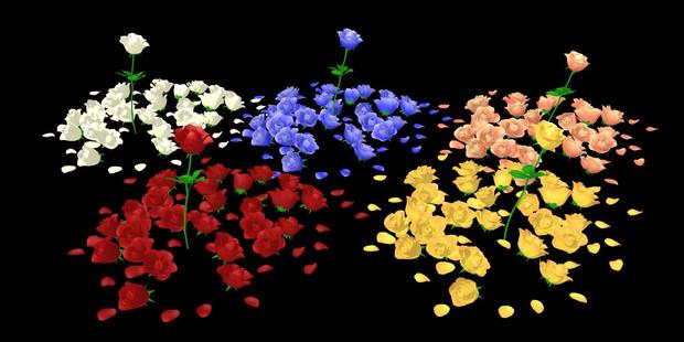 床にまかれたバラ配布