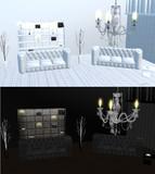 白黒シャンデリア部屋