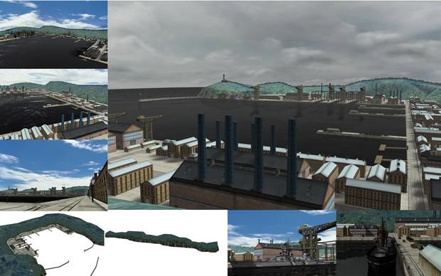 MMD用モブ港ステージ「モヴマンスク港」セット