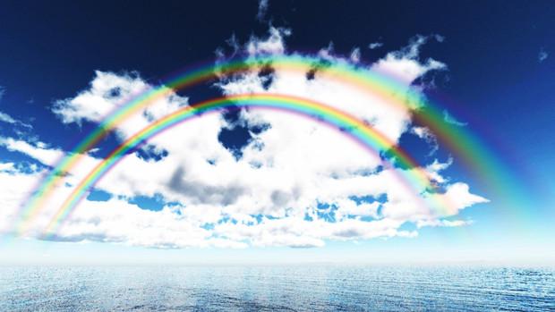 【MMDアクセサリ配布】二重虹 E2【透けるダブルレインボー】