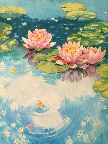 アナログ 水面の睡蓮 テッテ さんのイラスト ニコニコ静画 イラスト