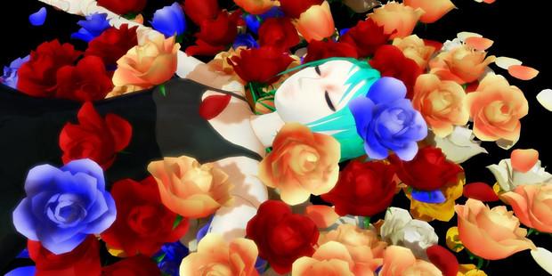 床にまかれたバラ修正