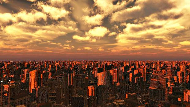 再配布【MMDステージ配布】未来都市の夕焼けVer1.3【スカイドームF2】