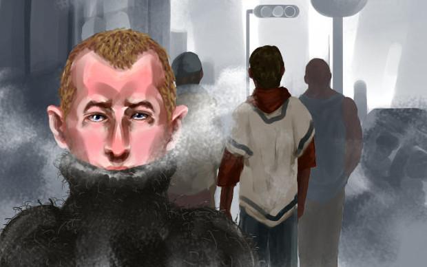 正当防衛を主張した後に黒人が怖くて隠れる白人警官.jpg