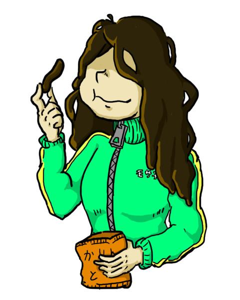 かりんとうを食べるモサ子