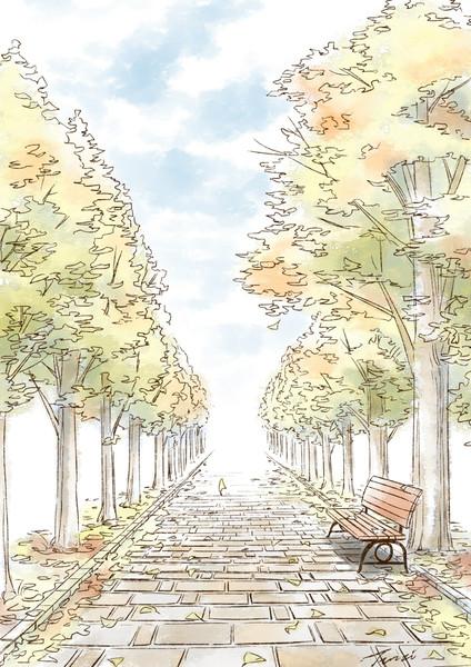 背景練習-水彩並木