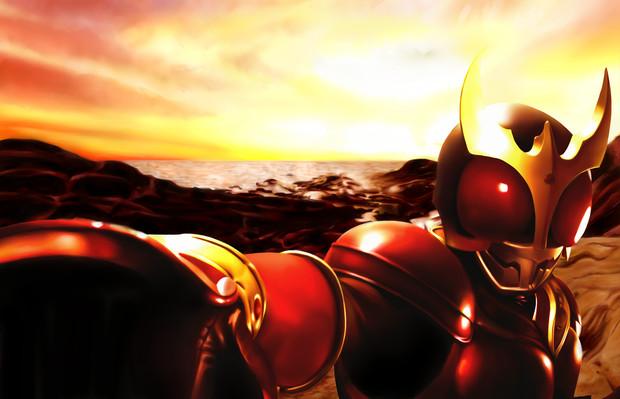 夕日と仮面ライダークウガ・マイティフォームの壁紙