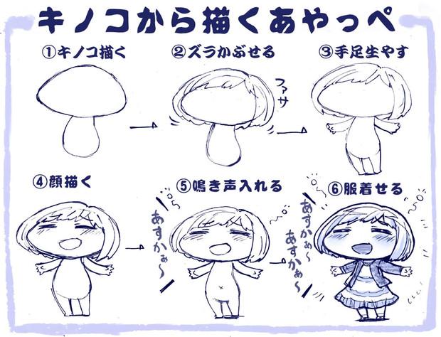 キノコから描くあやっぺの描き方 さきの新月 さんのイラスト