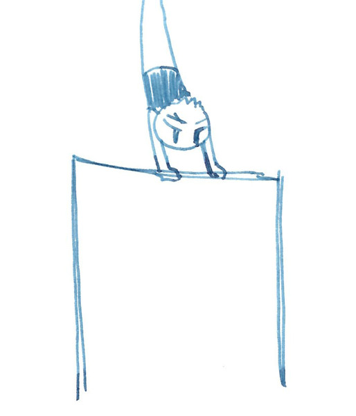 体操パラパラマンガで鉄棒のコバチ くろろいろ さんのイラスト