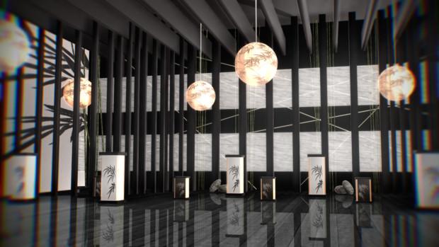竹と照明の和室