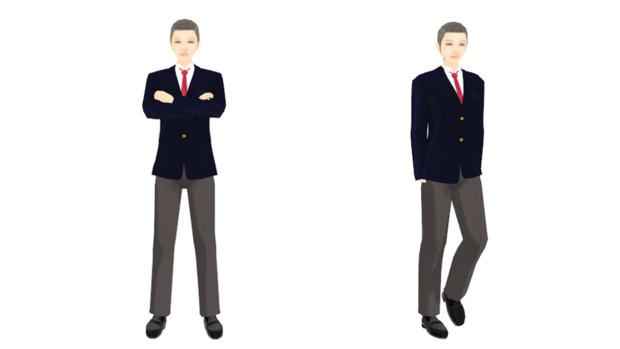 【MMDモデル配布】こんなエキストラ用モデルを作ってみた:男子学生A介(テスト版)
