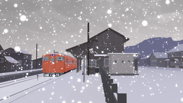 雪の雨晴駅