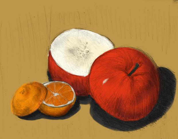 お腹が空いたので「りんごとみかん」を描いた。