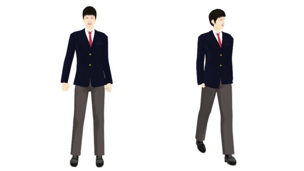 【MMDモデル配布】こんなエキストラ用モデルを作ってみた:男子学生C介(テスト版)